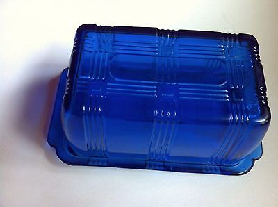 Cobalt criss cross depression glass one pound butter dish glass container nice