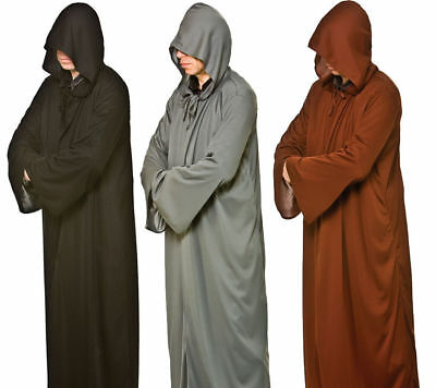 Mens Halloween Hooded Robes Grim Reaper Scary Fancy Dress Accessory