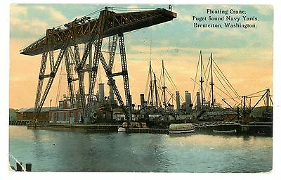Bremerton WA -FLOATING CRANE-PUGET SOUND NAVY YARD- Postcard Navy/Military