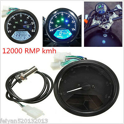 Universal Motorcycle 12000RPM Odometer Speedometer Gauge LED Blue 1-4 Cyliners