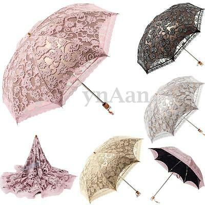 Lace Folding Umbrella Princess Sun/Rain/Snow Anti-UV Wedding Bridal Parasol New