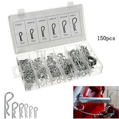 150x R-Clip Pin Industrial Mechanical Hitch Hair Tractor Assortment Kit Case Set