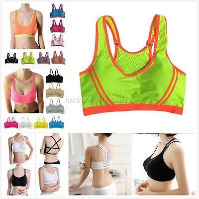 New Woman Seamless Racerback Running Sports Bra Yoga Padded Stretch Colorful