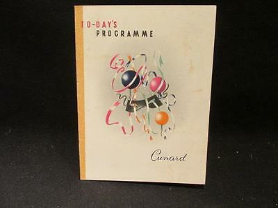 Cunard Sept. 27 1957 Programme for the Day  Party Cover RMS Sylvania