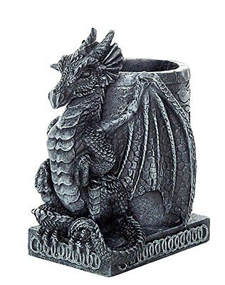 Medieval Dragon Statue Figurine Desk Top Utility Pencil Pen Holder Stationary