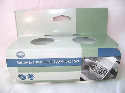 New Microwave Egg Cooker Poacher Set 2 Piece Cook Eggs In 1 Minute White Wilko