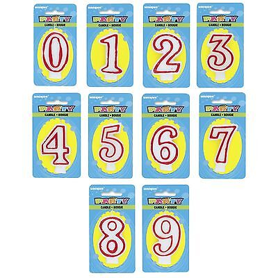 DELUXE Number Birthday CANDLE (0 - 9) {Unique} (Party/Cake/Red/White) #360-