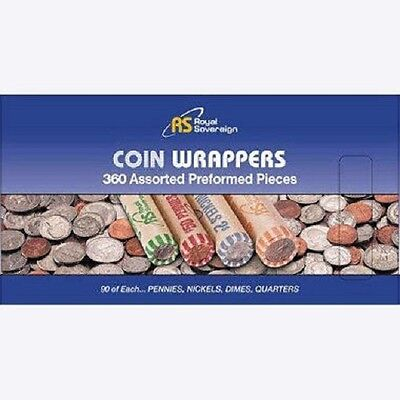 Royal Sovereign US Coin Wrappers Assorted 360 Pack Easy Filling by Hand