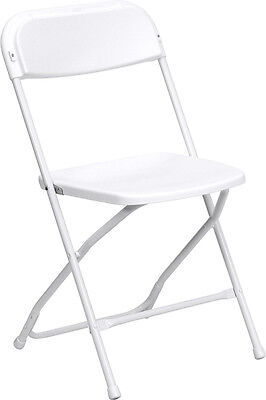 Lot of 5 5ft Folding Catering Tables + 50 White Steel Frame Folding Chairs