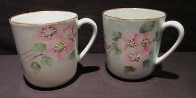T Moloney Floral Handpainted Pair Coffee/Cocoa Mugs by Holiday made in Germany
