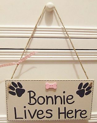 Handmade Personalised Plaque Sign Pet Dog Name Lives Here Bone Shabby Chic Gift