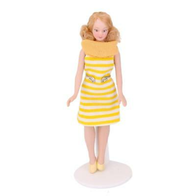 1/12 Scale Dollhouse Miniature Porcelain Doll Lady in Yellow Dress w. Stand