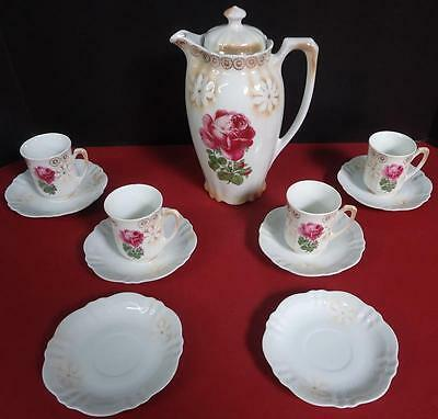 11 Piece Antique Vintage Porcelain Chocolate Pot Set w/ Saucers + Cups