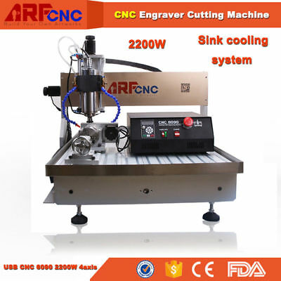 4-Axis CNC 6090 Router Engraver Engraving Drilling Machine Water Cooling 2.2KW