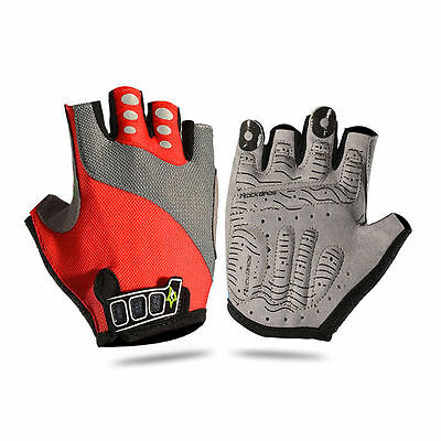 RockBros Bike Bicycle Cycling Half Finger Gloves Gel Pad Short Finger Gloves Red