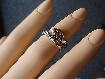 Vintage Knuckle Ring Silver Plated Coiled Snake or Ouroboros Adjustable
