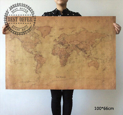 Large Poster Vintage Retro Paper World Map globe earth Wall Chart Home Decor A1