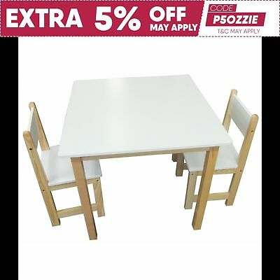 Childrens Square Table & 2 Chairs White / Natural Wood Kids Dining Furniture Set