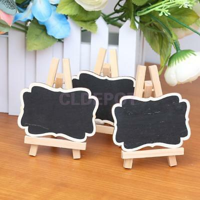 10 Mini Wooden Blackboard Chalkboard Table Numbers Tags Stand Wedding Favors