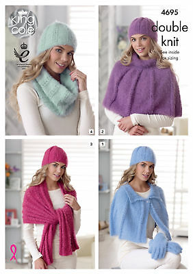 Womens Capes Wrap & Accessories Knitting Pattern King Cole Double Knit DK 4695