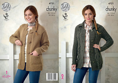 Ladies Cabled or Plain Long Sleeve Jacket Chunky Knitting Pattern King Cole 4721