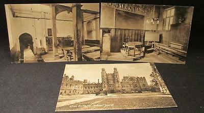 Eton College 3 Vintage Frith & Co Postcards Headmaster & Tower Rooms & Yard