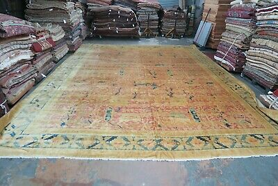 Antique India Amritsar Agra Hunting scene Area Rug Hand Knotted Wool 14' x 18'6