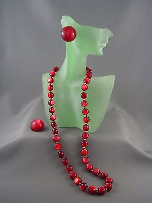 c.1950's Vibrant BRIGHT CHERRY RED Lucite Moonglow Bead Necklace Earrings Set