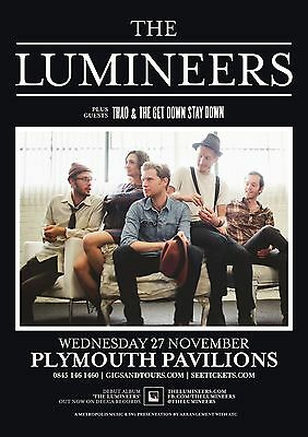 The Lumineers/thao & The Get Down Stay Down 2013 Plymouth,uk Concert Tour Poster