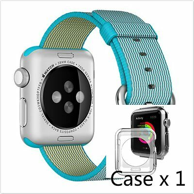 Light Blue Woven Nylon Wrist Band Strap Bracelet For Apple Watch iwatch  38mm