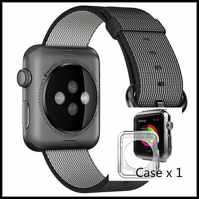Black Woven Nylon Wrist Band Strap Bracelet For Apple Watch iwatch  38mm
