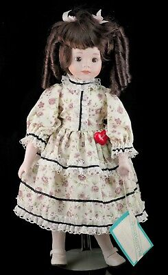 Sweetheart Porcelain Collector's Doll Marissa 1980's 16 Inch Brown Hair and Eyes