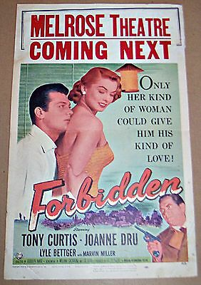 Forbidden (1954) Tony Curtis Film Noir Orig 14X22 Movie Poster