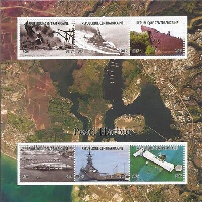 Central Africa - 2015 Pearl Harbor - 6 Stamp Sheet - 3H-1000