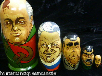 Vintage Hand Painted Set of Russian political Nesting Dolls