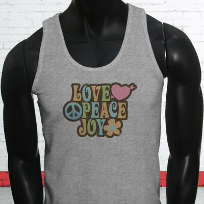 Love Peace 70s Grovy Show Hippie Hipster Retro Mens Gray Tank Top