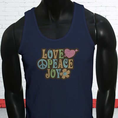 Love Peace 70s Grovy Show Hippie Hipster Retro Mens Navy Tank Top