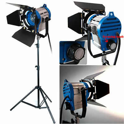 650W Pro Film Lighting Fresnel Tungsten Spot Video Light Barndoor Stand Kit NEW