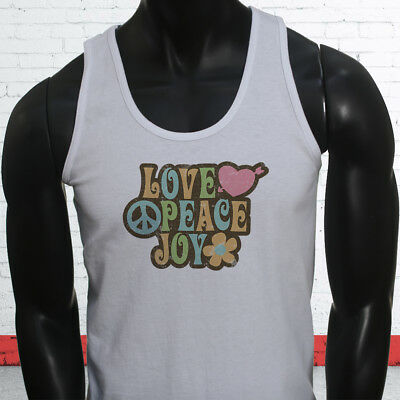 Love Peace 70s Grovy Show Hippie Hipster Retro Mens White Tank Top