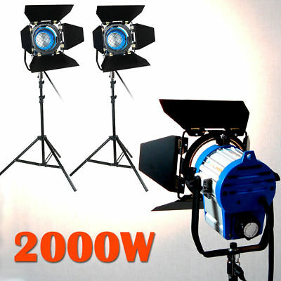 2x 1000w Lighting Fresnel Tungsten Spotlight Camera Video Studio Bulb Barndoor