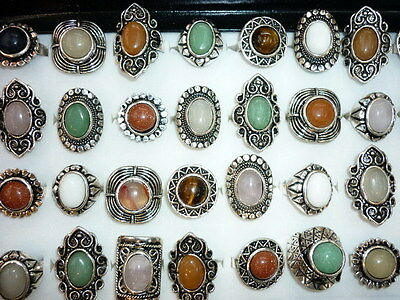 wholesale lot mixed 50pcs natural stone tribal lady's vintage silver open rings