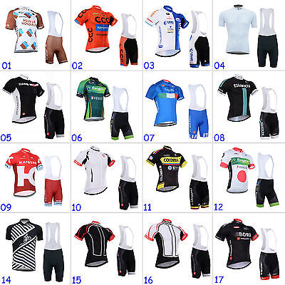 Fashion Mens Road Cycling Short Sleeve Jersey Bib Shorts Kits Riding Race Gear