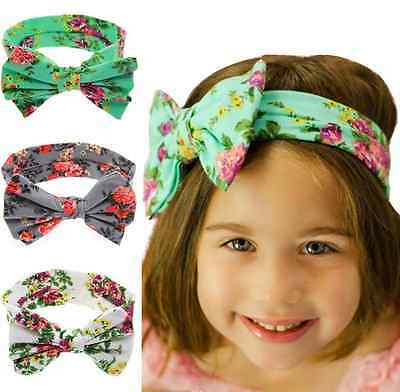 Popular Baby Kids Girl Print Floral Butterfly Bow Hair Band Turban Knot Headband