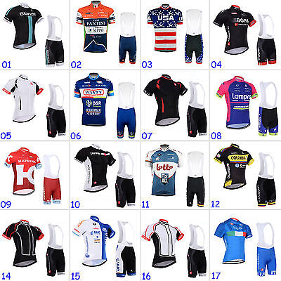 New Mens Cycling Short Sleeve Jersey Bib Shorts Suit Clothing Bicycle Sportswear