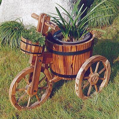 Bicycle Flower Planter Burntwood Finish Garden Wood Barrel Decor Pot ZLY-6006
