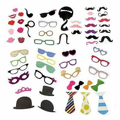 58 Party Photo Booth Selfie Props Colourful Wedding Moustache Lips Fun on Sticks