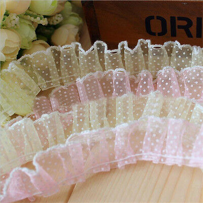 1/5/10 Yards Pleated Organza Dot Lace Edge Trimming Gathered Sewing Craft DIY
