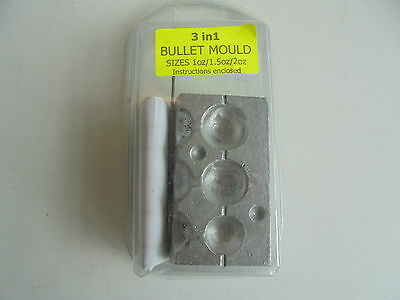 3 in1 bullet lead mould 1oz,1.5oz and 2oz.