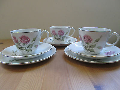 3 X Vintage Alfred Meakin Glo White Pink Roses Cups & Saucers and 2 Side Plates