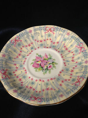 "Queen Anne England Royal Bridal Gown Only Saucer 5 1/2"" Pink Blue Flowers"